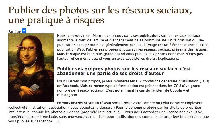 Publier ses propres photos sur les réseaux sociaux, c'est abandonner une partie de ses droits d'auteur