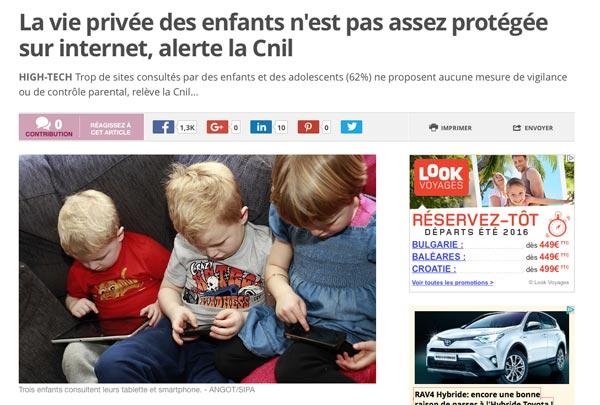 Article sur 20minutes : La vie privée des enfants n'est pas assez protégée sur internet alerte la Cnil